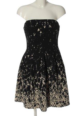 H&M schulterfreies Kleid schwarz-creme abstraktes Muster Elegant