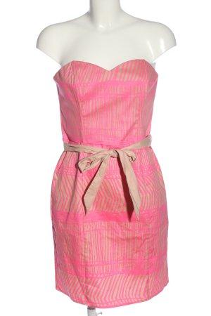 H&M schulterfreies Kleid pink-creme Allover-Druck Elegant