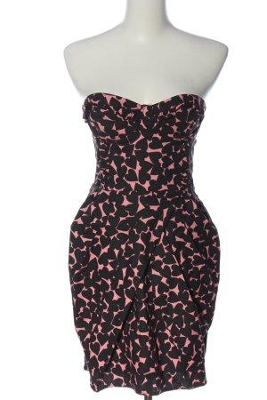 H&M schulterfreies Kleid pink-schwarz Allover-Druck Elegant