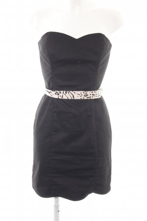 H&M schulterfreies Kleid schwarz-wollweiß Party-Look