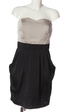 H&M schulterfreies Kleid schwarz-hellgrau Casual-Look