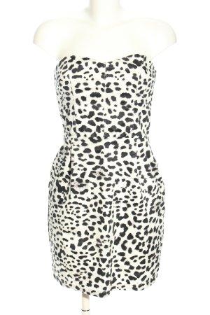 H&M schulterfreies Kleid weiß-schwarz Leomuster Elegant