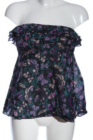 H&M Hauts épaule nues violet-noir imprimé allover style décontracté