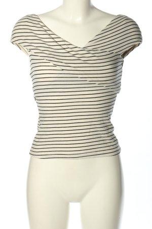 H&M schulterfreies Top weiß-schwarz Streifenmuster Casual-Look