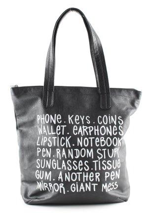 H&M Bolsa de hombro negro-blanco letras impresas look casual