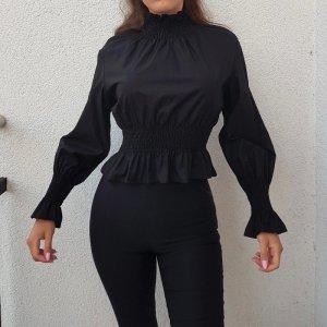H&M Schwarz Oberteil Bluse Größe 32 XS 100% Baumwolle Cotton