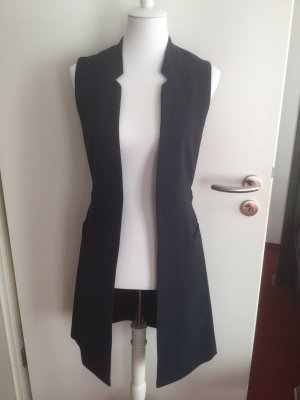 H&M Długa dzianinowa kamizelka ciemnoniebieski