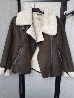 H&M Kurtka ze sztucznym futrem czarny-khaki