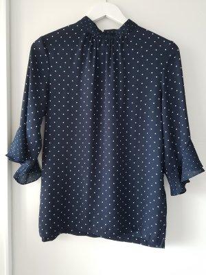 H&M Blusa de cuello alto blanco-azul oscuro