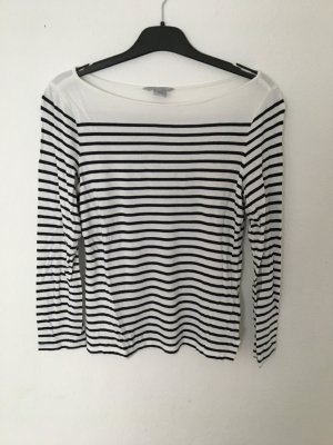 H&M Camisa de cuello barco blanco-azul oscuro Viscosa