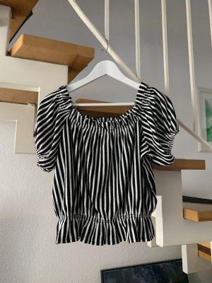 H&M Shirt gestreift off shoulder schwarz weiß