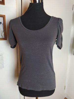 H&M Shirt mit gerafftem Arm, grau, S