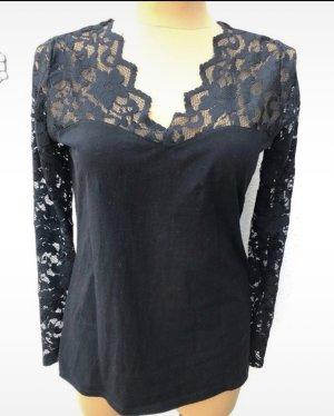 H&M, Shirt mit Spitze, langarm, schwarz, Gr. XL