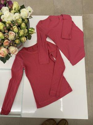 H&M Shirt Oberteil langarm 3/4 Ärmel in XS / 34 rot rosa pink korall
