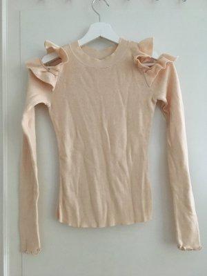 H&M Shirt Oberteil Langarm Basic Jersey Baumwolle Beige Rippstrick Gerippt Cut-Outs Schulterfrei XS 34 NEU