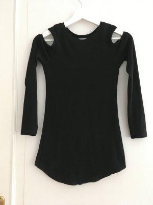 H&M Shirt Oberteil Langarm Basic Jersey Baumwolle Schwarz Rippstrick Gerippt Cut-Outs Schulterfrei XS 34 NEU