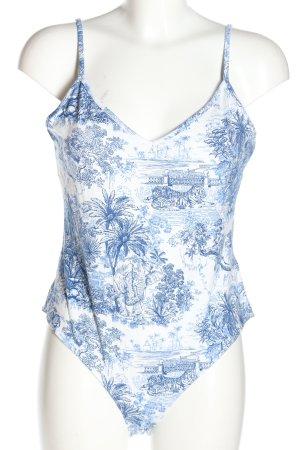 H&M Shirtbody weiß-blau Allover-Druck Casual-Look