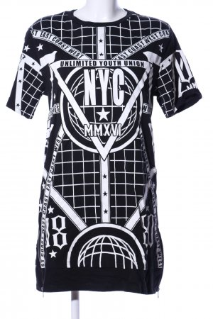 H&M Vestido estilo camisa negro-blanco estampado gráfico look casual