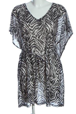 H&M Shirtkleid schwarz-weiß Animalmuster Elegant