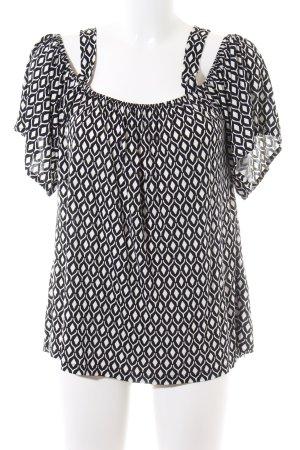 H&M Shirttunika weiß-schwarz Allover-Druck Casual-Look