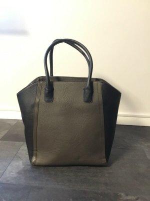 H&M Torba shopper czarny-oliwkowy