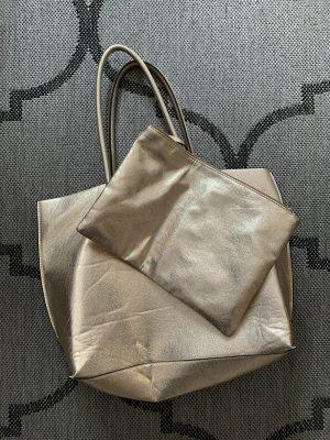 H&M Shopper Tasche mit Pochette gold