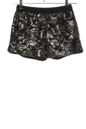 H&M Shorts schwarz-goldfarben Allover-Druck Glanz-Optik
