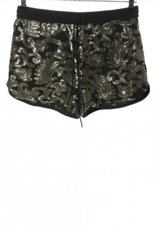 H&M Shorts schwarz-silberfarben Allover-Druck extravaganter Stil