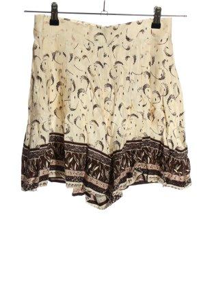 H&M Shorts wollweiß-braun Allover-Druck Casual-Look