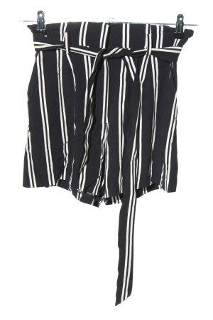 H&M Shorts schwarz-weiß Streifenmuster Casual-Look