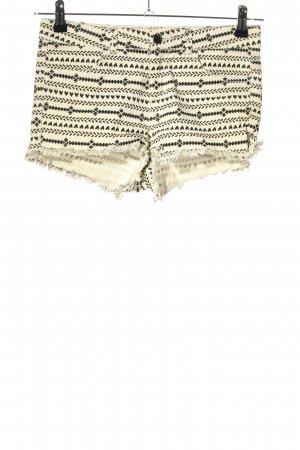 H&M Shorts wollweiß-schwarz abstraktes Muster Casual-Look