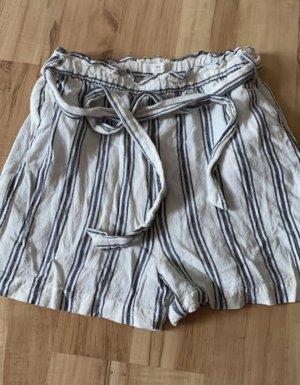 H&M Pantaloncino a vita alta bianco-grigio