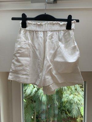 H&M Shorts High Waist Leinenshort Leinen weiß