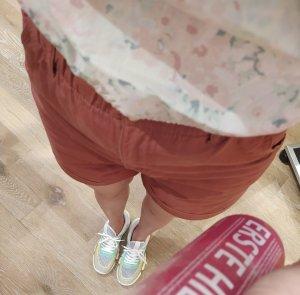 H&M Shorts Highwaist Paperbag Terracotta