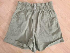 H&M Short taille haute kaki coton