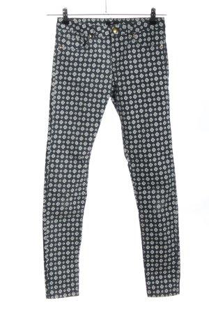 H&M Skinny Jeans blau-weiß Allover-Druck Casual-Look