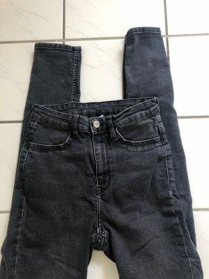 H&M Jeans a vita alta nero-grigio scuro