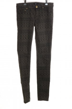 H&M Skinny Jeans schwarz-khaki abstraktes Muster Casual-Look