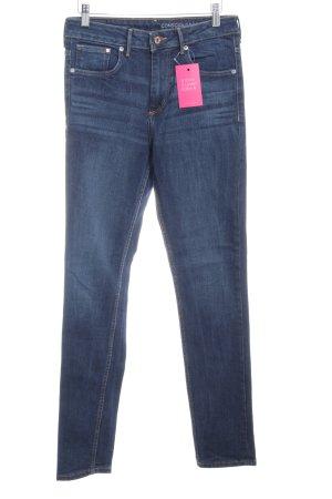 H&M Skinny Jeans dunkelblau Washed-Optik