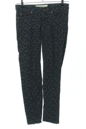 H&M Skinny Jeans schwarz-blau Allover-Druck Casual-Look