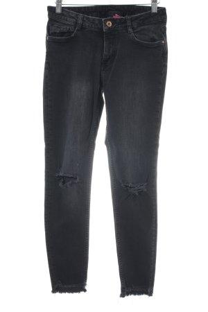 H&M Skinny Jeans schwarz Destroy-Optik