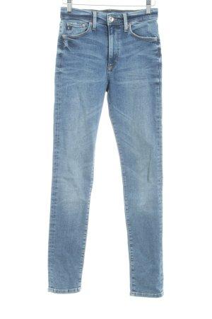 H&M Skinny Jeans stahlblau Washed-Optik