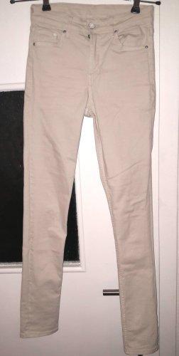 H&M Skinny regular waist Röhrenjeans hellbeige