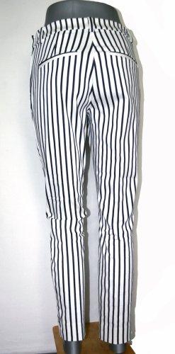 H&M Slacks - 7/8 Stretch - schwarz-weiss gestreift - Größe 38 - 1A