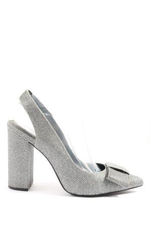 H&M Czółenka z paskiem za piętą srebrny Elegancki