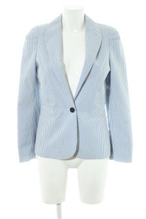 H&M Smoking-Blazer weiß-himmelblau Streifenmuster Casual-Look