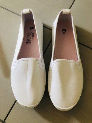 H&M Sneaker Leinenschuhe Ballerina Stoffschuhe Stoff Weiß Gr. 41 NEU