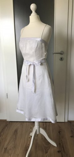 H&M Sommer Abend Kleid XS 34 Cocktail Party Hochzeit Ballkleid Midi Weiß Mini