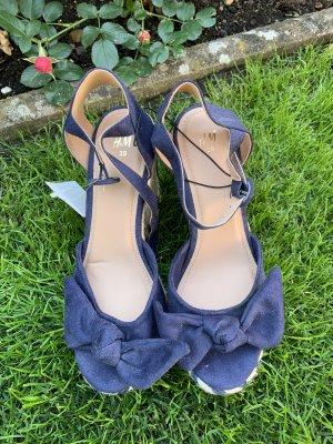 H&M Sandały klinowe na obcasie niebieski