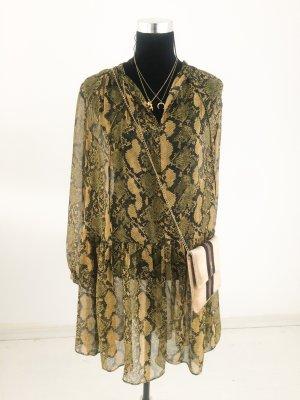 H&M Sommer Volant Kleid Animal Print 42 44 46 braun Töne gelb Blogger Dress Tunika